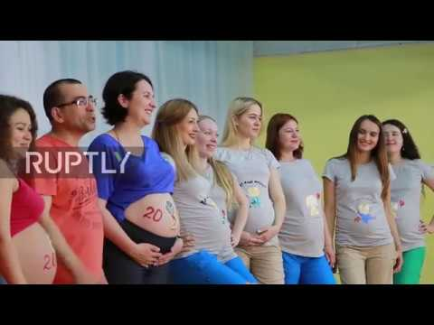 Russia: Pregnant women play football at festival celebrating WC 2018