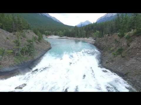Bow river. Banff, Alberta. Canada. Drone footage.