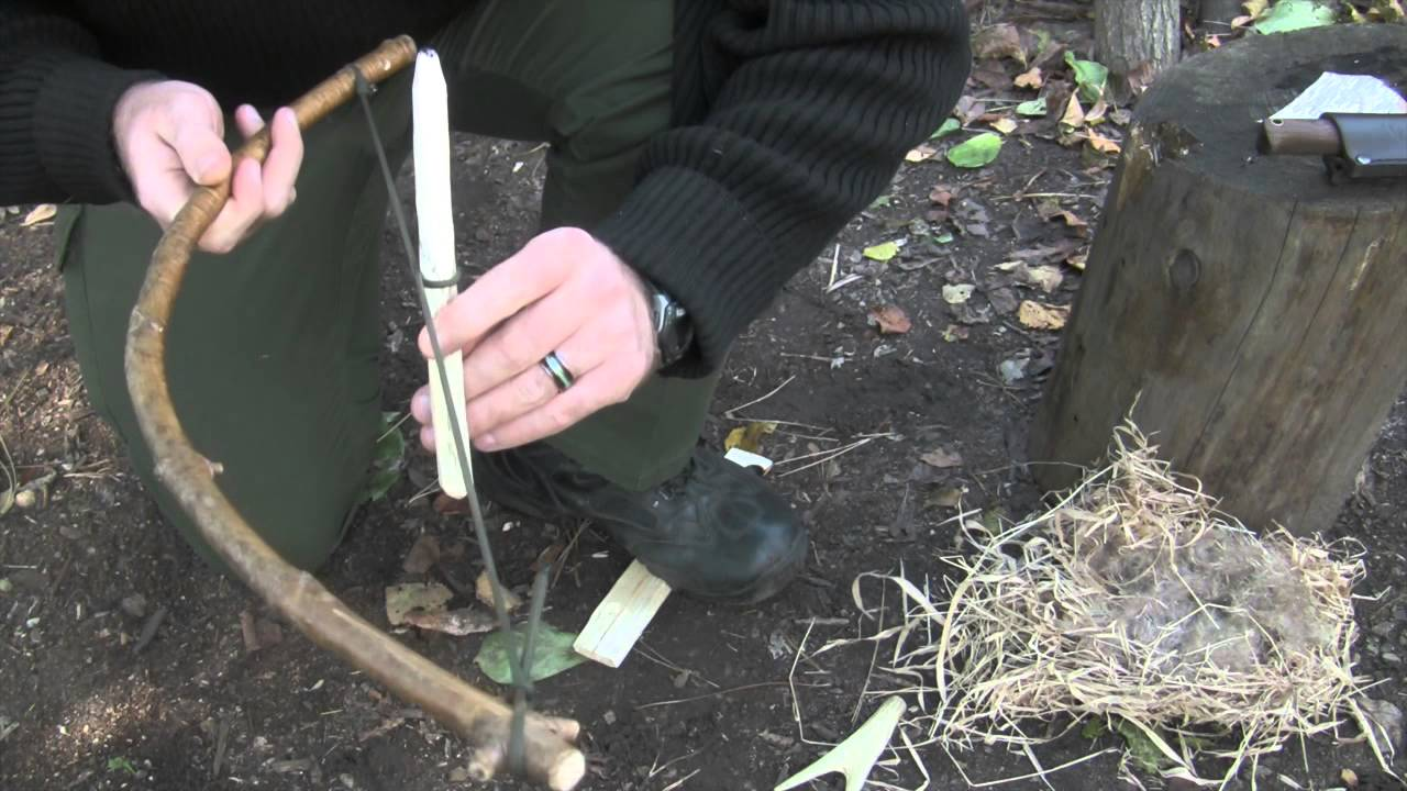 how to make a bow drill fire starter video