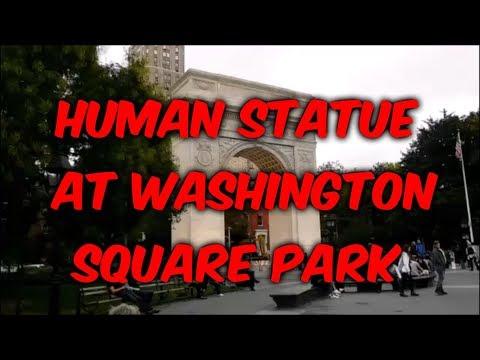 HUMAN STATUE AT WASHINGTON SQUARE PARK