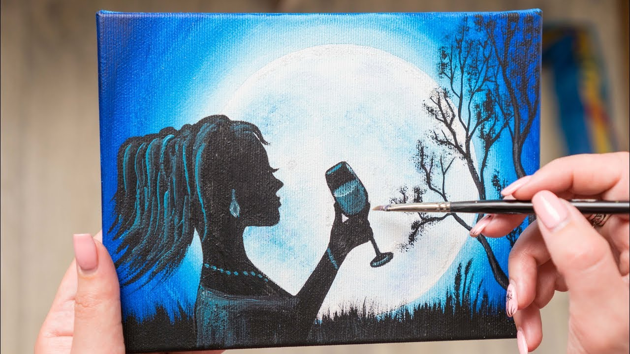The Girl enjoying the Full Moon - Acrylic painting / Homemade Illustration  (4k)