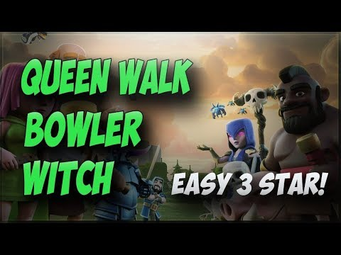 QUEEN WALK+BOWLERS+WITCH=100%DESTROYED | TH 10.5 WAR ATTACK STRATEGY | CLASH OF CLASH