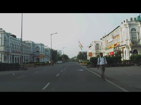 Driving in Connaught Place Area & Inner Circle - Delhi, India (Early Morning)