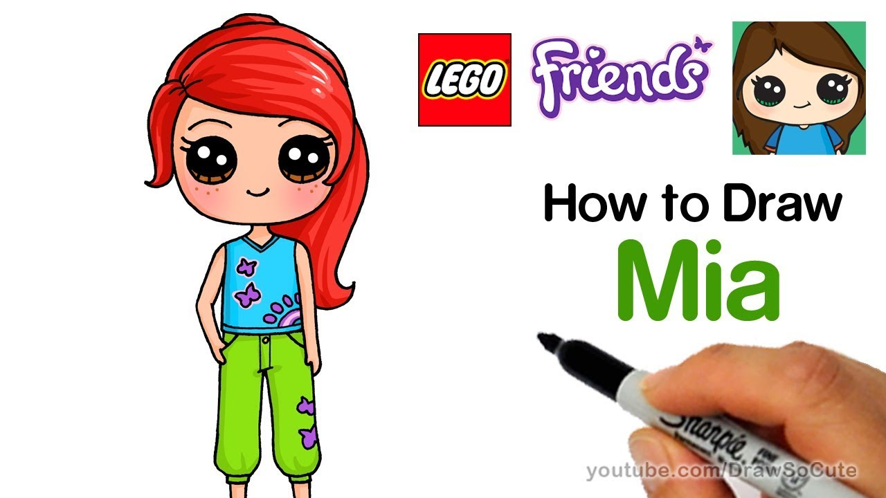 How to Draw Lego Friends Mia Easy