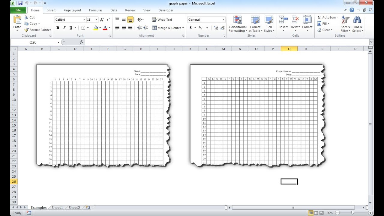 make graph paper in excel