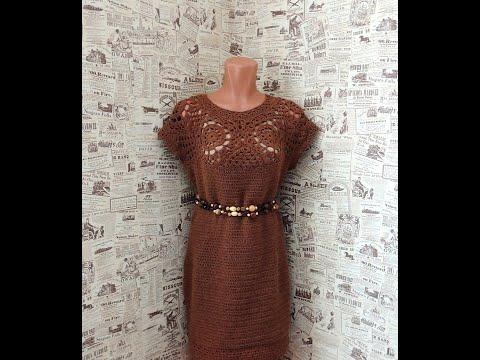 Платье на основе круглой кокетки из мотивов. Вязание крючком. МК на любой размер. Весна-лето 2019.