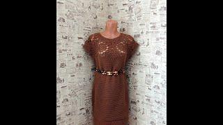 Теплое платье крючком на основе круглой кокетки из шестиугольников.