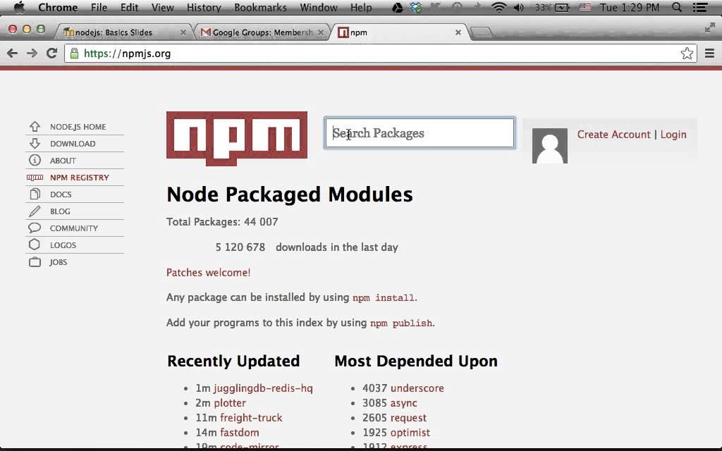 The node js NPM Repository