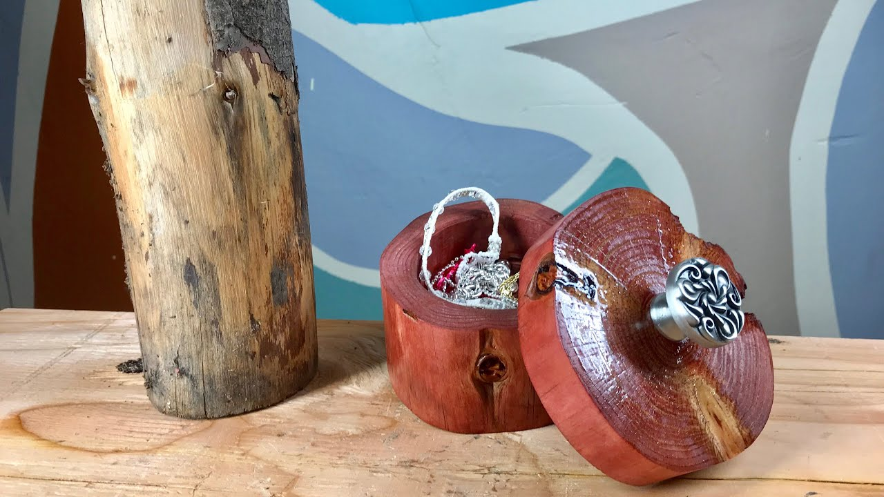 COMO HACER UN ALHAJERO / JOYERO CON UN TRONCO DE MADERA // HOW TO MAKE A JEWELRY BOX FROM A LOG