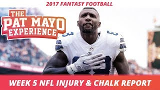 2017 fantasy football: week 5 nfl injury report & draftkings milly maker chalk picks and pivots