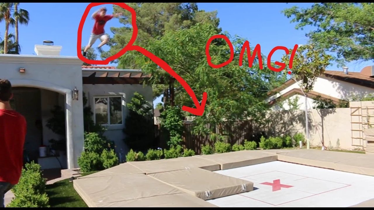 super trampoline in the backyard triple flip youtube