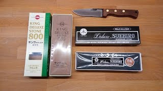 King Deluxe 800 and Suehiro Deluxe 100 sharpening stones + Svord drop point