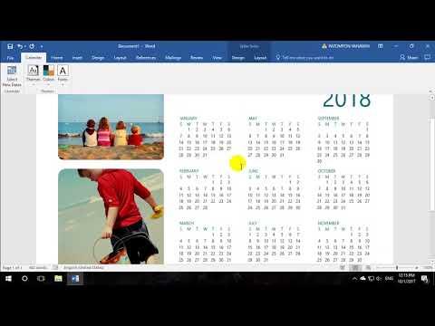 สร้างปฏิทินอัตโนมัติ Word | Excel 2016