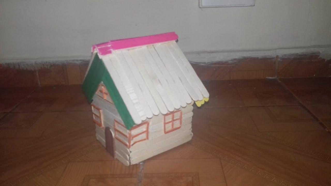 C mo hacer una casa de palitos de helado youtube - Como hacer una casa de madera para ninos ...