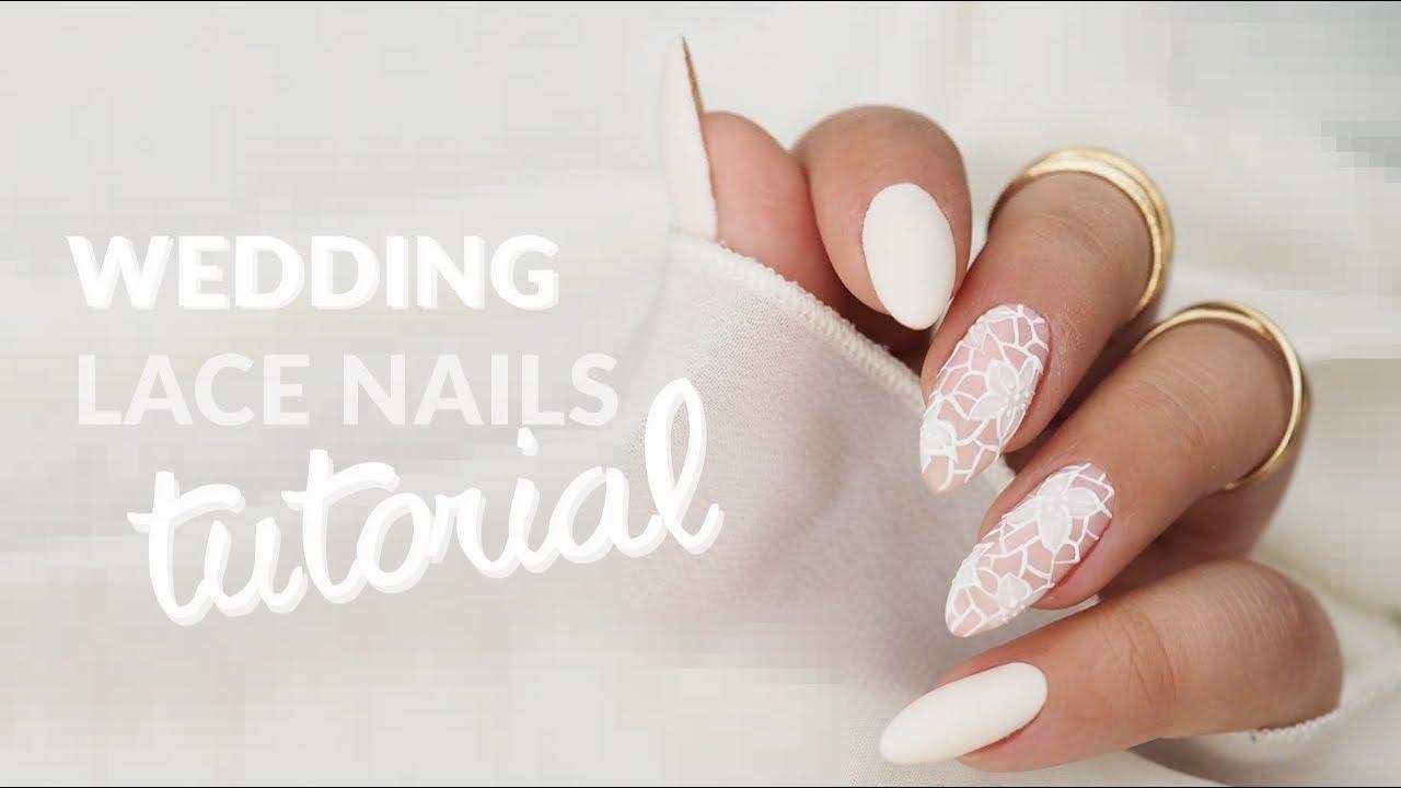 Koronkowe Paznokcie Slubne Wedding Lace Nails Youtube
