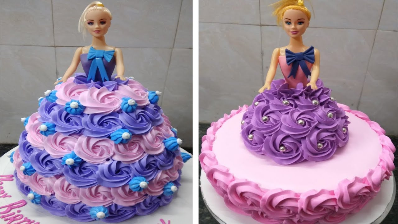 Barbie doll shaped cake in blue dress, which is decorated with blue roses. Two Amazing Barbie Doll Cake Design Doll Cake Girl Birthday Cake Decorating New Cake Wala Youtube