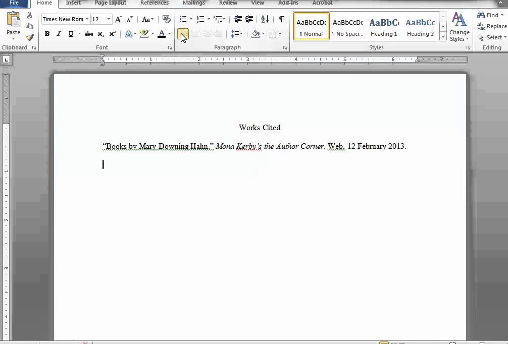 Making a Works Cited Page in Word and Google Docs - YouTube - work cited layout