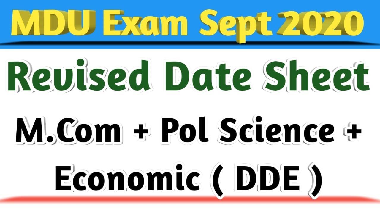 MDU Revised Date Sheet || MDU Distance Date Sheet Revised ||
