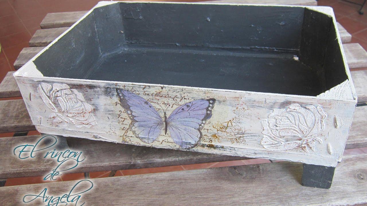 Decoupage relieve y decapado sobre madera reciclar caja - Manualidades con cajas de madera ...
