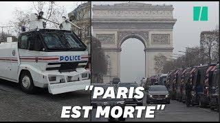 """Acte XIX des gilets jaunes: aux Champs-Élysées, une hyper-sécurisation """"post-apocalytpique"""""""