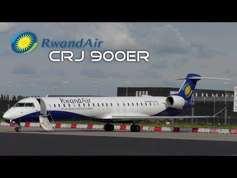 RwandAir Bombardier CRJ-900ER Take Off Rotterdam Airport