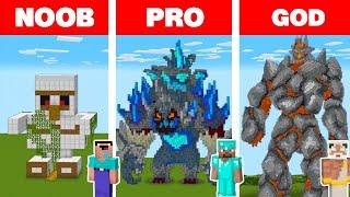 Minecraft NOOB vs PRO vs GOD: GOLEM STATUE HOUSE BUILD CHALLENGE in Minecraft Animation