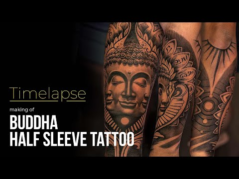 cc34b1f6b Tattoo Timelapse - Making of Half Sleeve Buddha Tattoo - YouTube