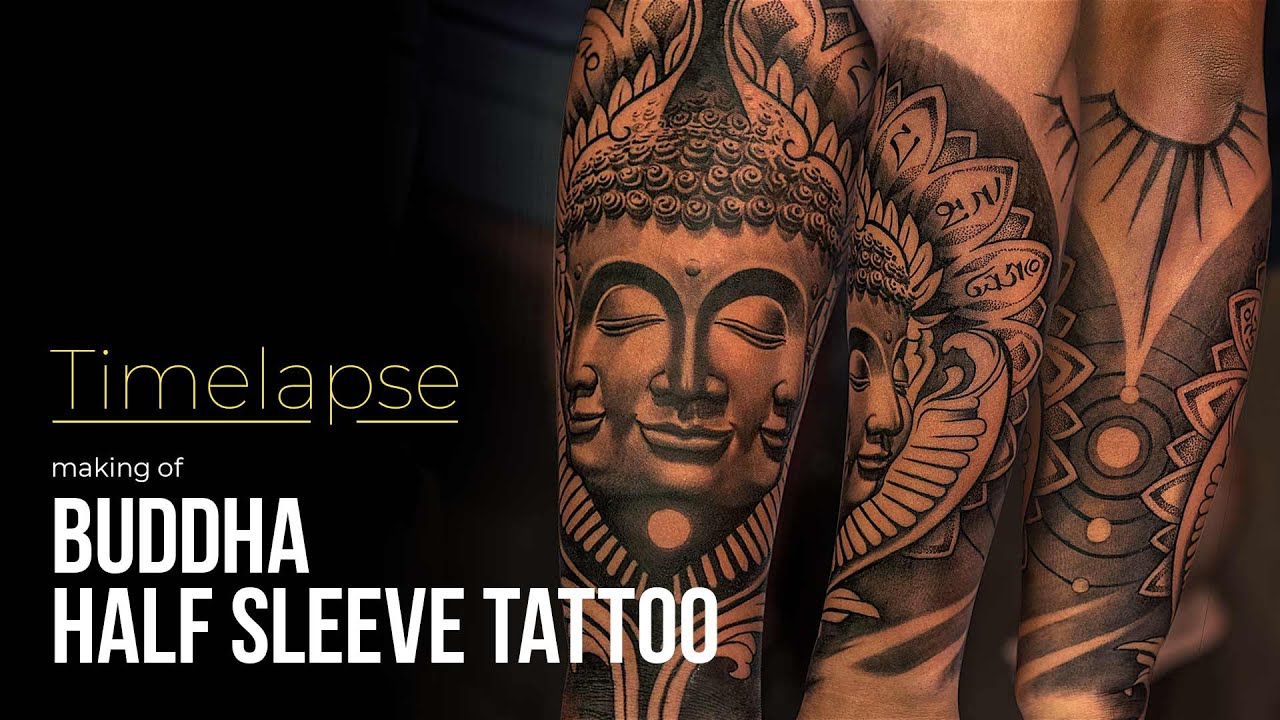 Buddha Tattoo Picture tattoo timelapse - making of half sleeve buddha tattoo