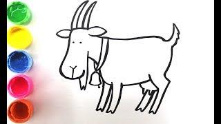 Домашние животные. Учимся рисовать. Рисуем козу и свинку.