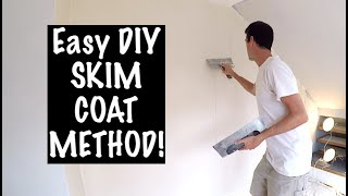 The EASIEST WAY to SKIM COAT a wall!!!