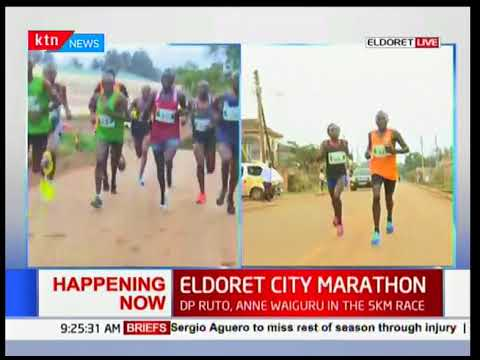 Dp William Ruto and Governor Anne Waiguru in the 5km race at Eldoret city marathon