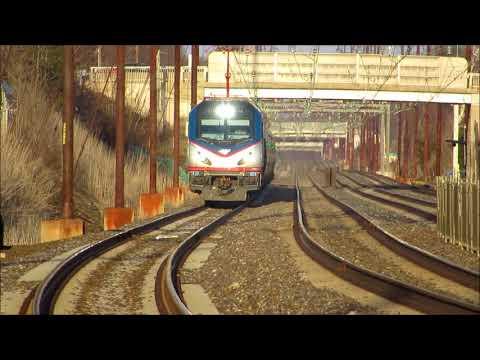 RARE Amtrak Northeast Regional flies thru Prospect Park on outer track (2/18/18)