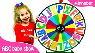 Alphabet magic spin with animation words #1 - Letters A, F, K