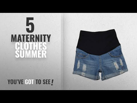 Top 10 Maternity Clothes Summer [2018]: SUNNY Thin Shorts Plus Size Summer New Jeans Pregnant Women