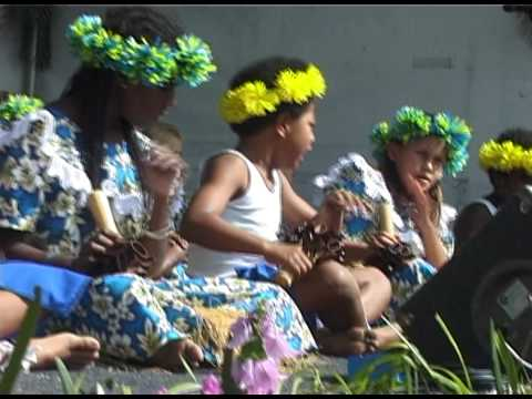 Torres Strait Islander dancing by a school in Cairns, Australia