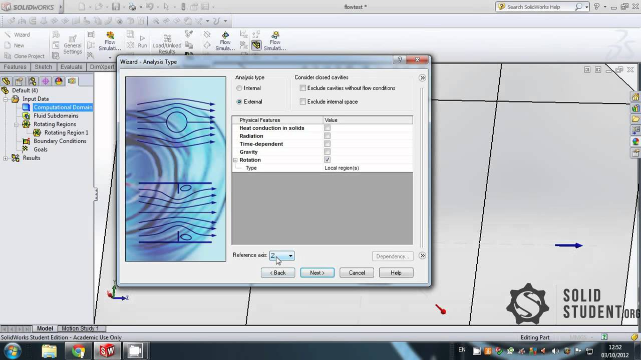 Solidworks Tutorial - Adding a rotating region to a flow simulation