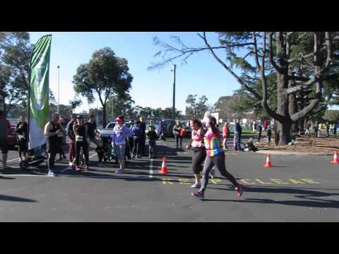 Traralgon finish line - Dee + Michelle - 10km