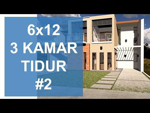 ide desain rumah 2 lantai lebar 6 meter part 2/6 - youtube