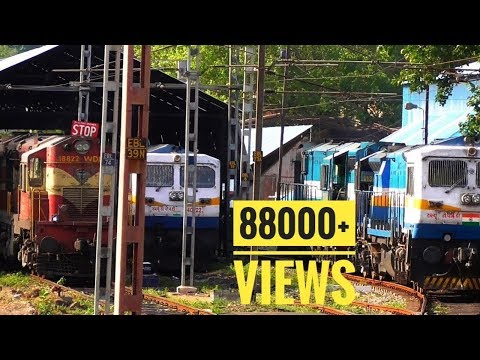 India's Largest Diesel Loco Shed   Rare color Livery spotted EMD,ALCO,WAP 7,WAP 4, WAG   VSKP