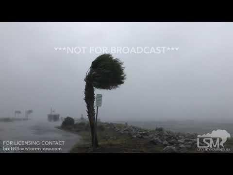 10-10-18 Port St. Joe, Florida Hurricane Conditions - Canopies Shredding - Sail Boats Rocking