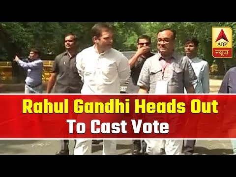 Congress President Rahul Gandhi Heads Out To Cast His Vote In New Delhi | ABP News