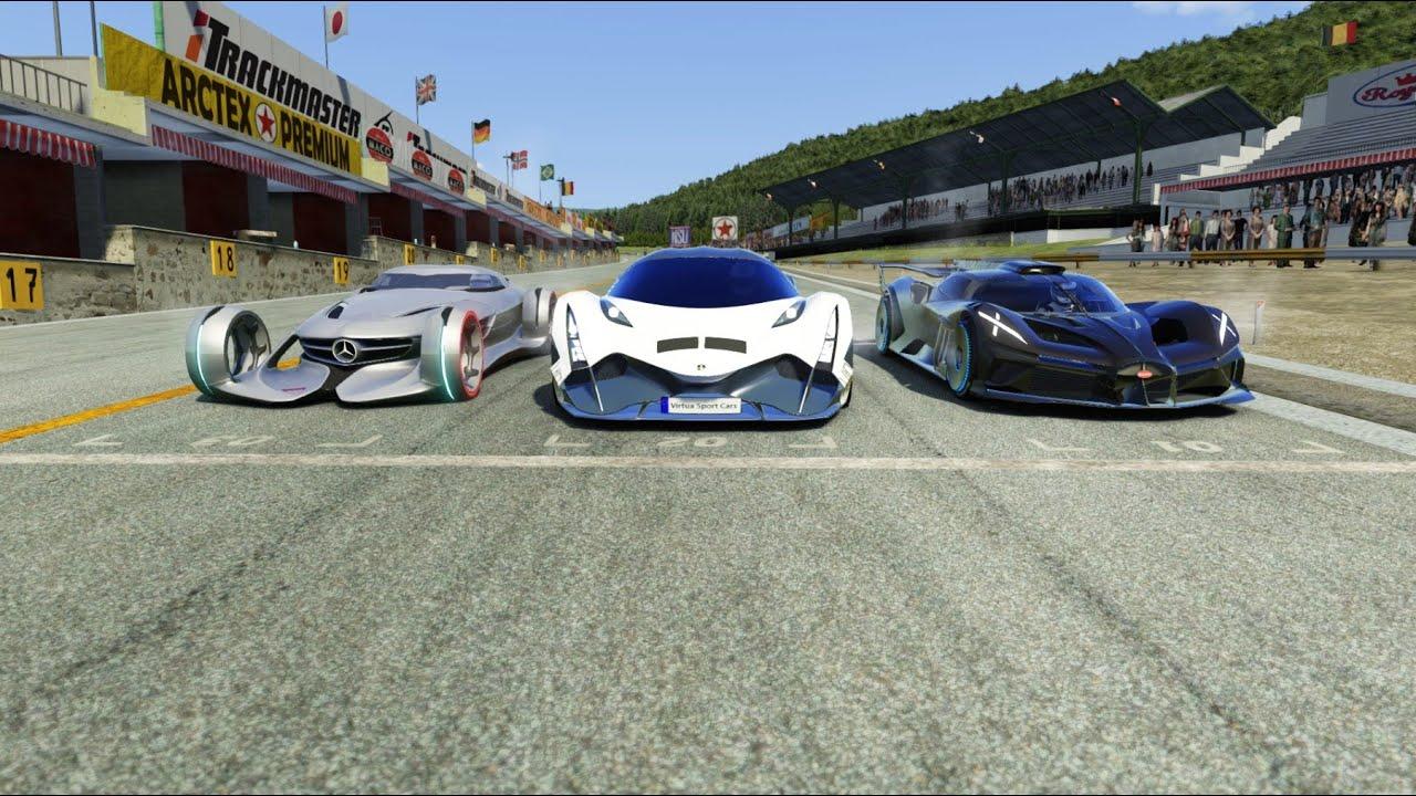 Devel Sixteen vs Mercedes-Benz Silver Arrow Concept vs Bugatti Bolide at Old Spa 2