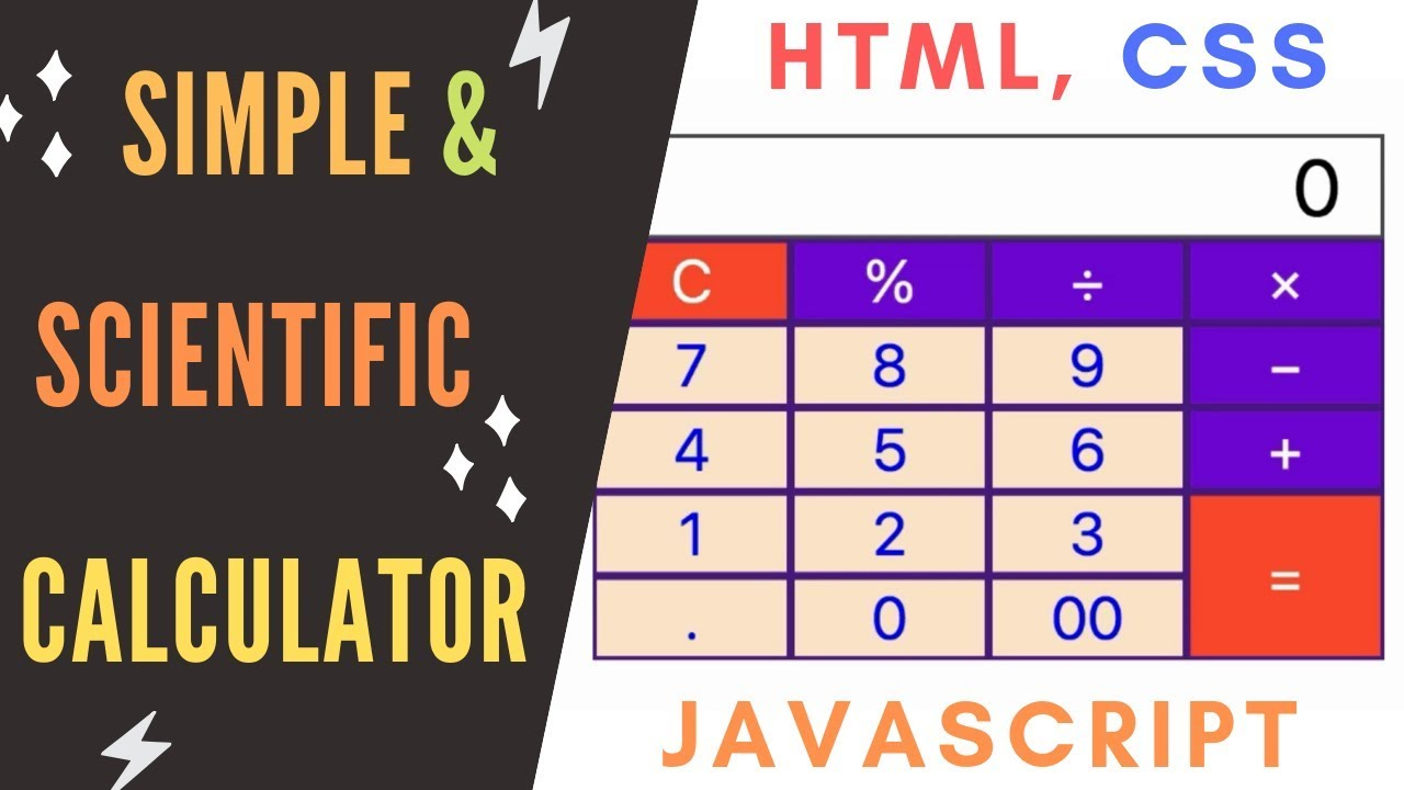Create Simple or Scientific Calculator Using HTML, CSS and Javascript -  Part 2
