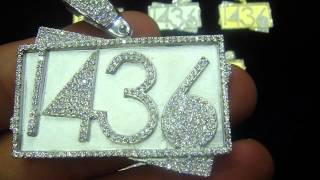 Iced Out 3D 2 Stack  2 Colors Number Custom Pendant Charm Chain (M4H06566)