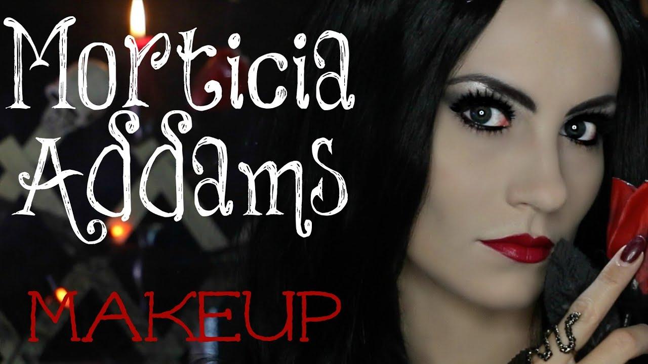 Morticia Addams Halloween Makeup Tutorial | Angela Lanter - YouTube