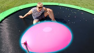 GIANT WATER BALLOON VS TRAMPOLINE!!
