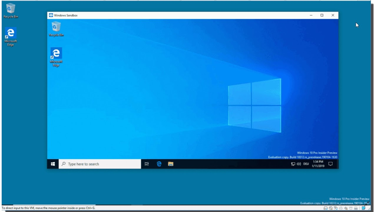 Windows 10 May 2019 update Does have Sandbox mode for Pro and Enterprise  versions on 64 bits