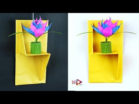 HomeMade Wall Shelves For Flower Vase | DIY Paper Wall Stand \ Rack \ Shelf Tutorial