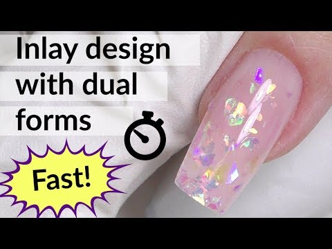 Glitter Nail Art with Dual Forms & Polygel Tutorial - YouTube