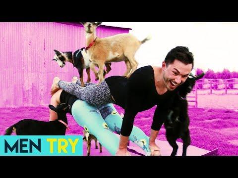 Men Try Goat Yoga - Couples Yoga Challenge!